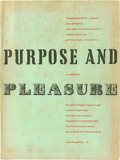 Herbet Spencer: Titel der Zeitschrift Typographica, No. 5, 1952, mit einem Beitrag von max Bill: Typography to–day.